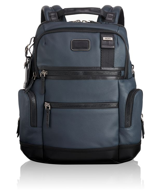 Knox Leather Backpack in Dusk Blue