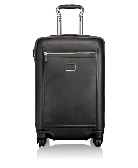 Osborne 4 Wheeled International Leather Carry-On in Black