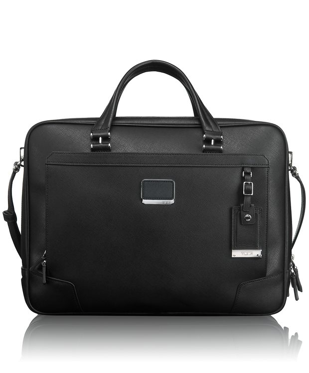 Ansonia Zip Top Leather Brief in Black