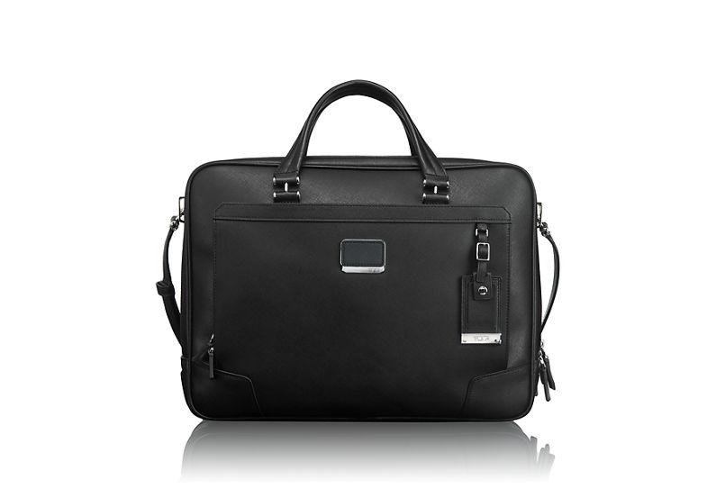 Ansonia Zip Top Leather Brief in Black