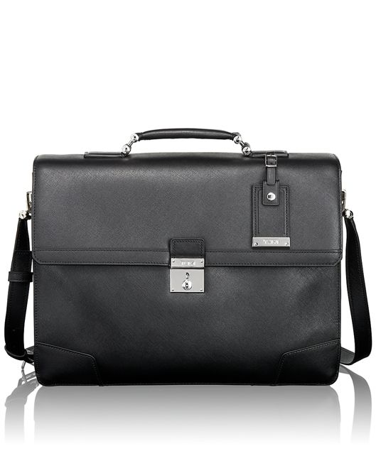 Dorilton Slim Flap Leather Brief in Black