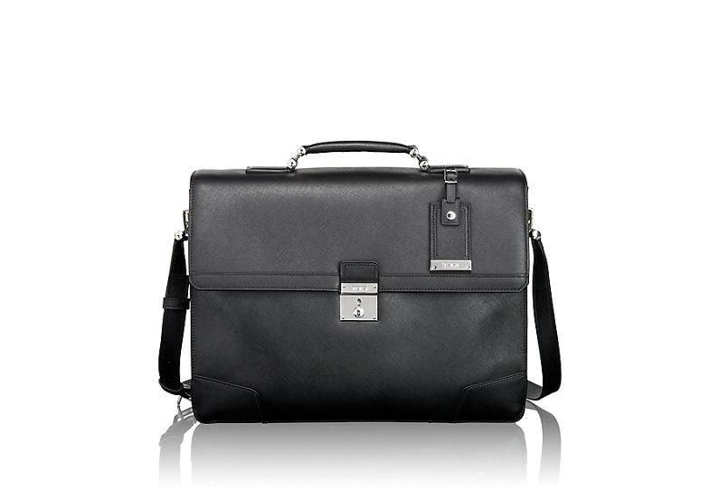 Dorilton Slim Flap Leather Brief in Black