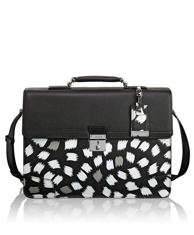 Dorilton Flap Leather Brief in Fukuro Print