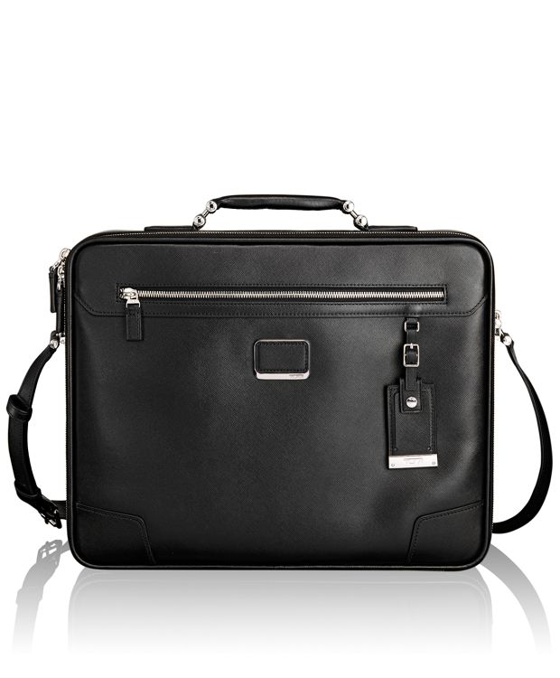 Mills Slim Leather Brief in Black