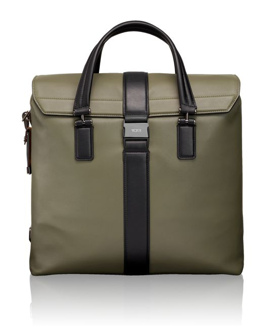 Cypress Leather Brief Tote in Green
