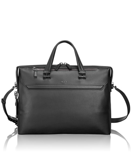 Gates Slim Leather Brief in Black
