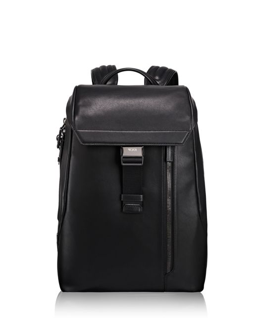 Dresden Flap Leather Backpack in Black