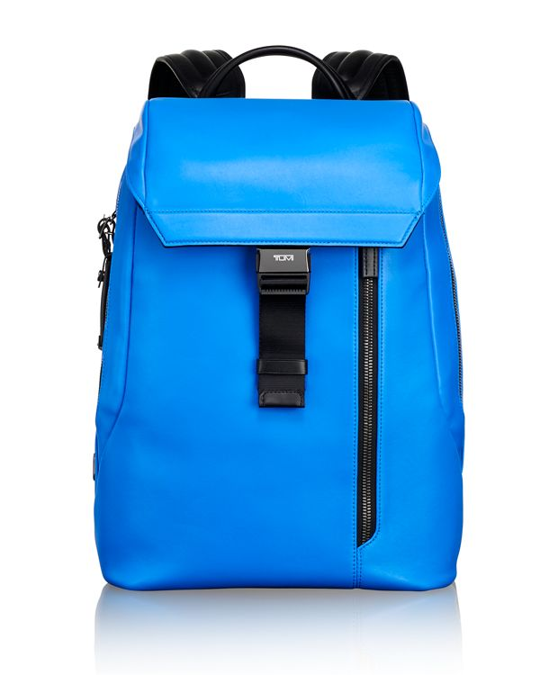 Dresden Flap Leather Backpack in Electric Blue