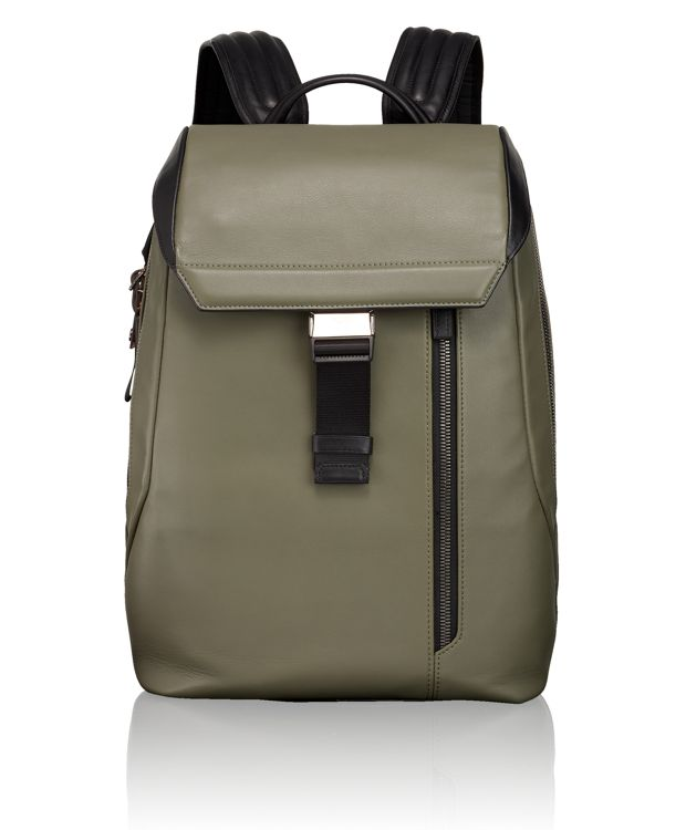 Dresden Flap Leather Backpack in Green