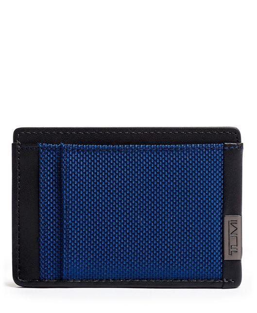 TUMI ID Lock™ Money Clip Card Case in Blue/Congo Print