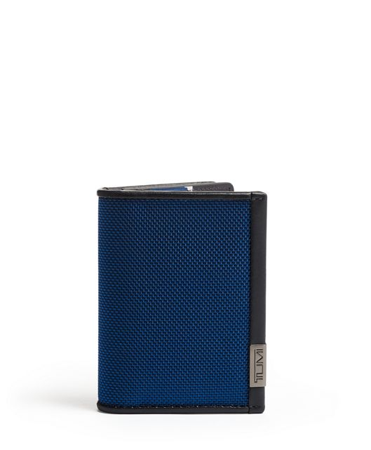TUMI ID Lock™ Gusseted Card Case in Blue/Congo Print