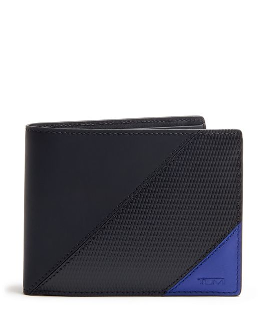 Global Wallet with Coin Pocket in Blue Pieced