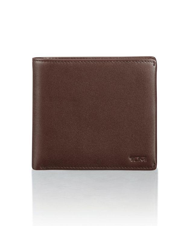 Global Center Flip Coin Wallet in Dark Brown Smooth