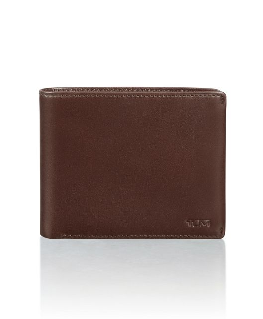 Global Compact Flip Coin Wallet in Dark Brown Smooth