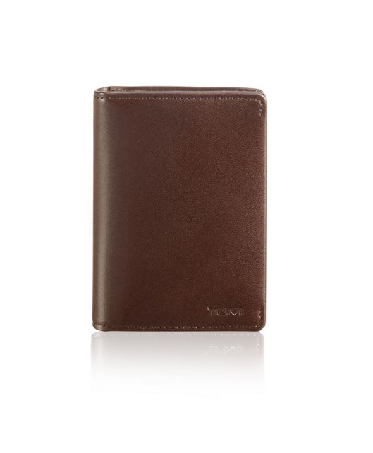 Gusseted Card Case in Dark Brown Smooth