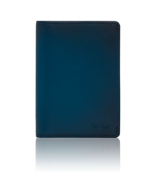 Gusseted Card Case in Blue Burnished