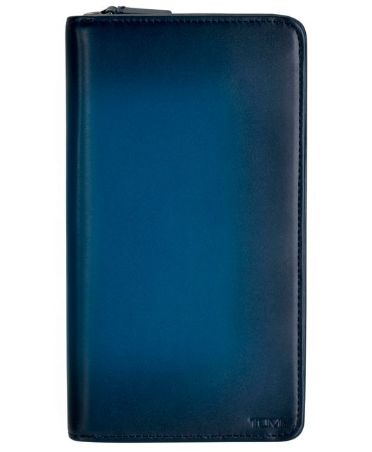 Zip-Around Travel Wallet in Blue Burnished