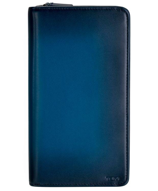 Zip-Around Travel Wallet in Blue  Burnished