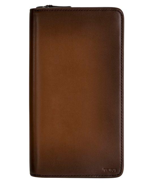 Zip-Around Travel Wallet in Whiskey  Burnished