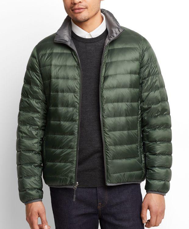 Patrol Reversible Packable Travel Puffer Jacket in Green/Grey