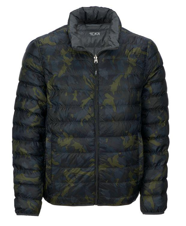 Patrol Reversible Packable Travel Puffer Jacket in Green Camo/Grey