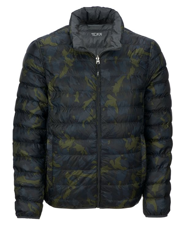 Patrol Reversible Packable Travel Puffer Jacket in Green Camo/Grey