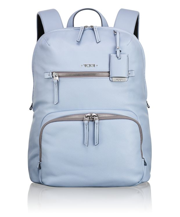Halle Leather Backpack in Light Blue