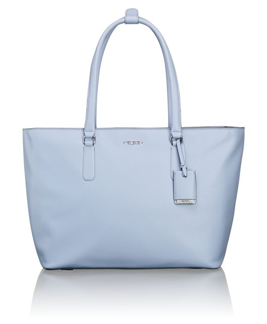 Carolina Leather Tote in Light Blue