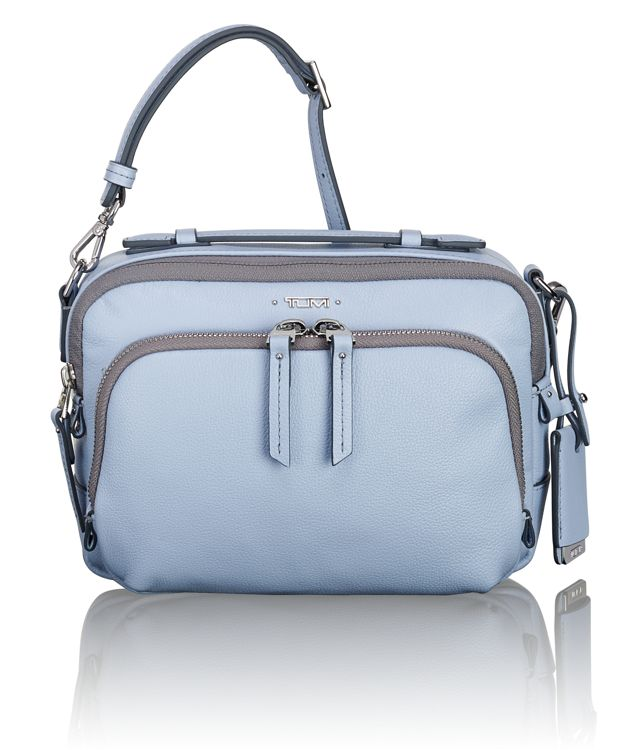 Luanda Leather Flight Bag in Light Blue
