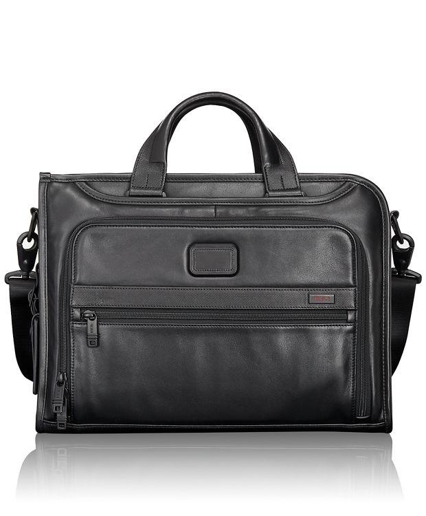 Slim Deluxe Leather Portfolio in Black
