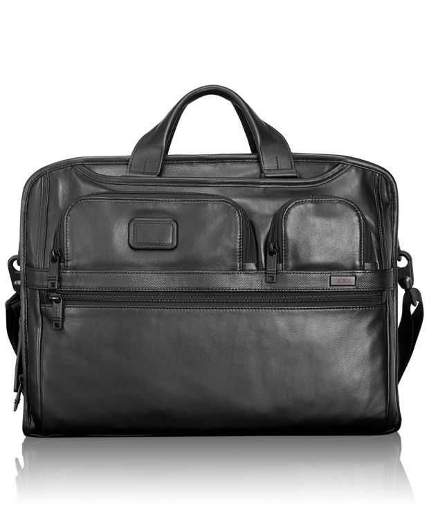 Compact Large Screen Laptop Leather Brief in Black