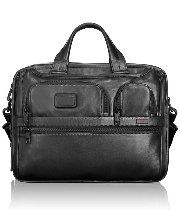 Expandable Organizer Laptop Leather Brief in Black