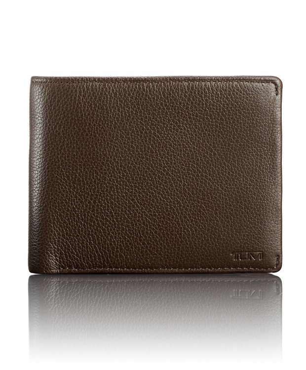 TUMI ID Lock™ Global Double Billfold in Dark Brown Textured