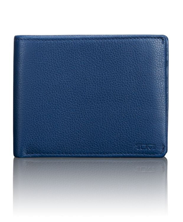 TUMI ID Lock™ Global Double Billfold in Ocean Blue Textured