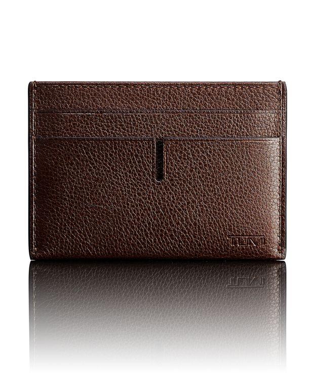 TUMI ID Lock™ Money Clip Card Case in Dark Brown Textured