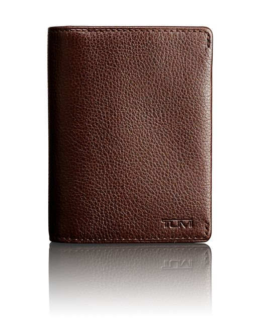 TUMI ID Lock™ Gusseted Card Case in Dark Brown Textured