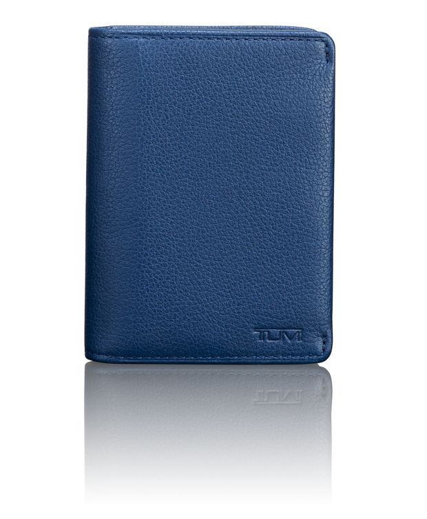 TUMI ID Lock™ Gusseted Card Case in Ocean Blue Textured
