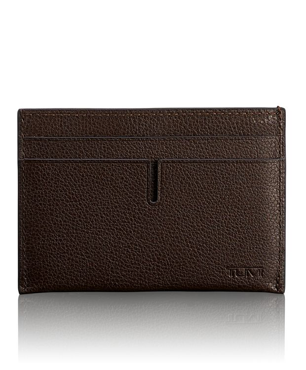 TUMI ID Lock™ Slim Card Case in Dark Brown Textured