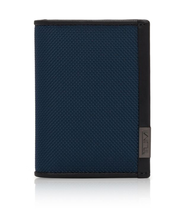 Gusseted Card Case in Blue/Congo Print