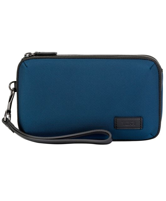 Triple Zip Clutch in Blue/Congo Print