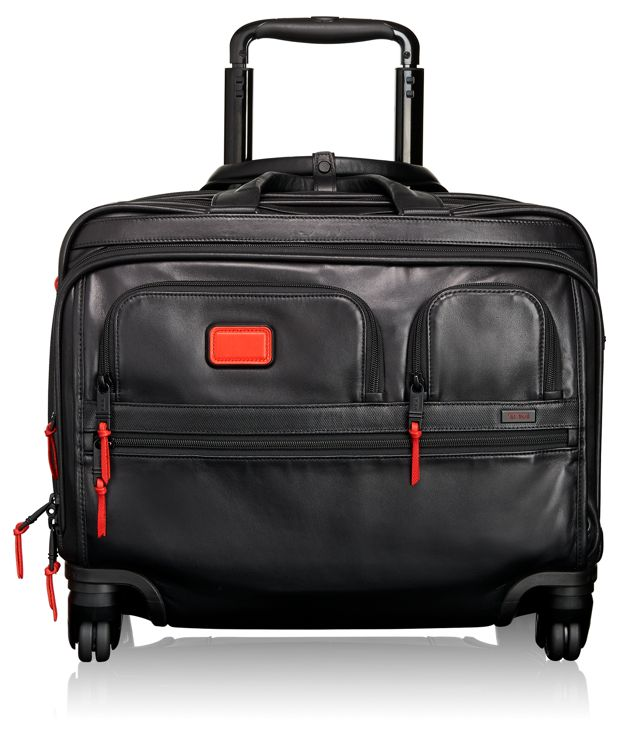 4 Wheeled Deluxe Leather Brief with Laptop Case in Cherry