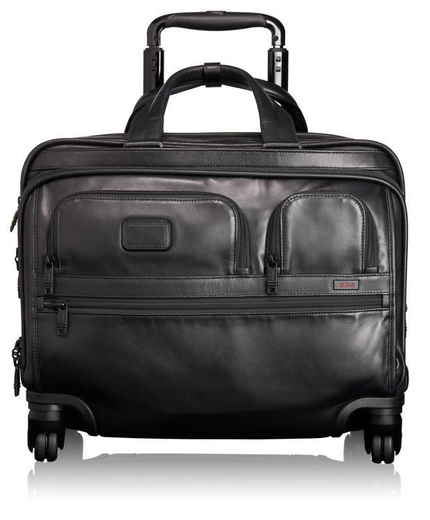 4 Wheeled Deluxe Leather Brief with Laptop Case in Black