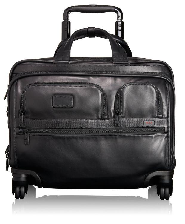Deluxe Leder-Aktentasche auf 4 Rollen mit Laptophülle in Schwarz