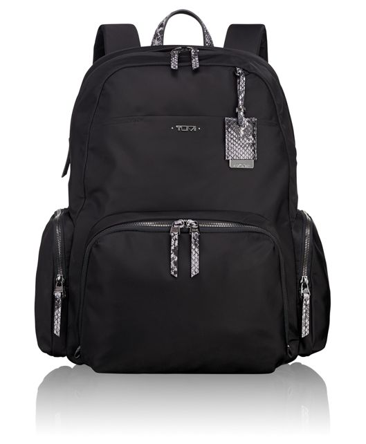 Calais Backpack in Black Faux-Python