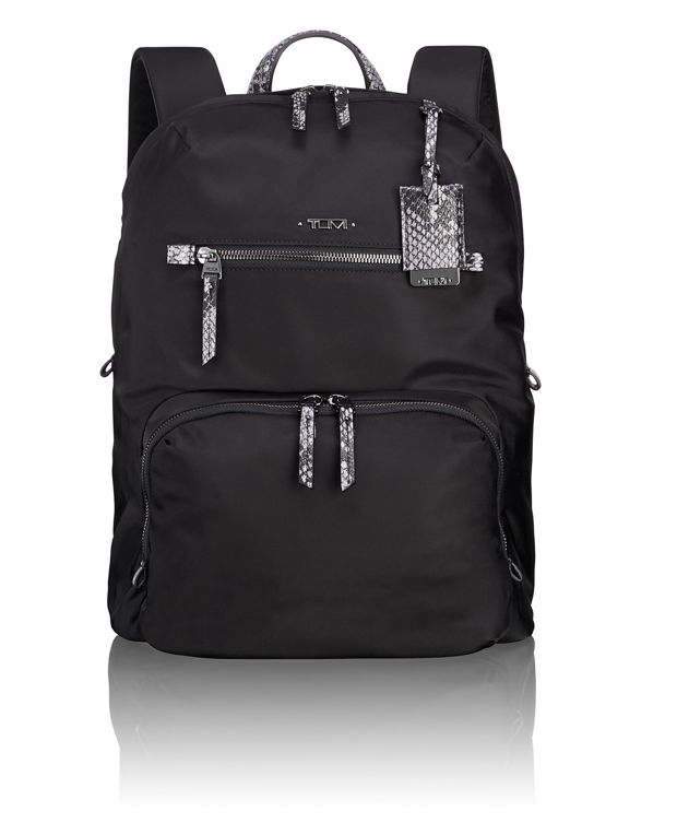Halle Backpack in Black Faux-Python