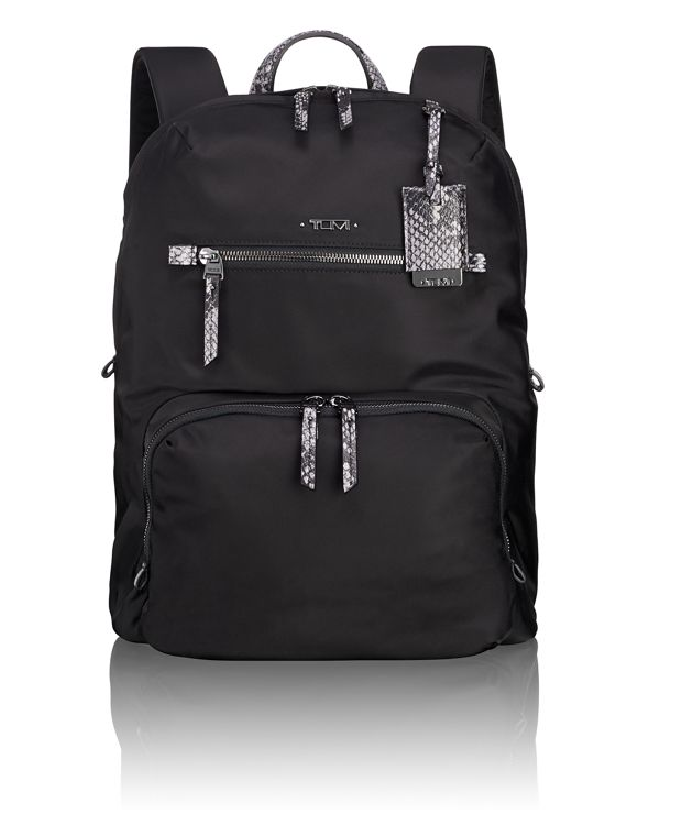Halle Backpack in Black Faux-Python