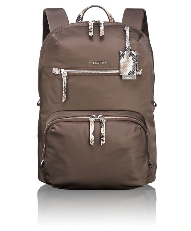 Halle Backpack in Brown Faux-Python