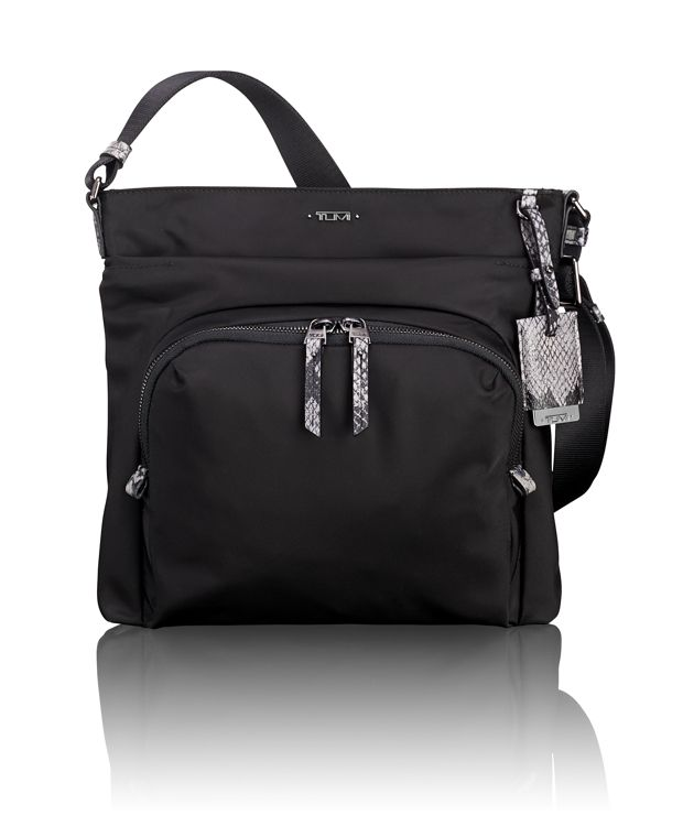 Capri Crossbody in Black Faux-Python